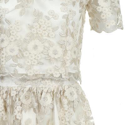 scallop hem line lace blouse & flower lace long skirt ivory